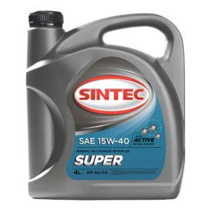 Моторное масло Sintec Супер SAE 15W-40 API SG/CD 4л полусинтетика