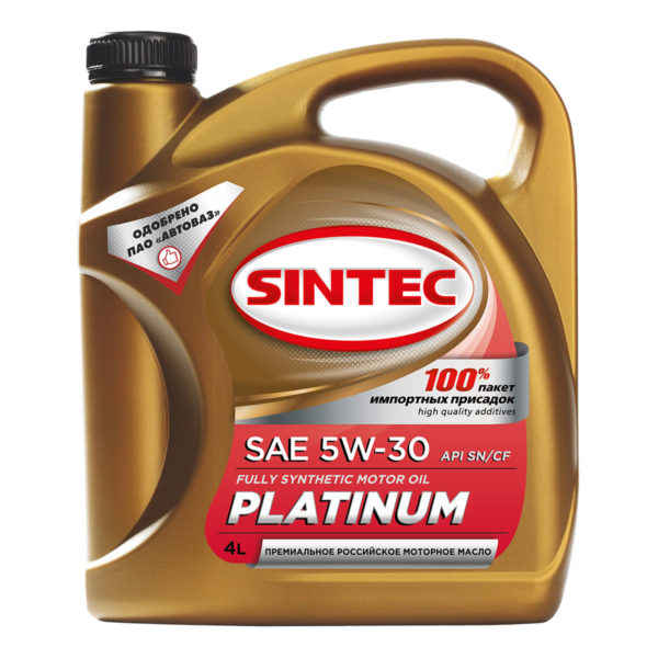 Моторное масло Sintec Платинум SAE 5W-30 API SN/CF (синтетическое) 4л АКЦИЯ 1л бесплатно